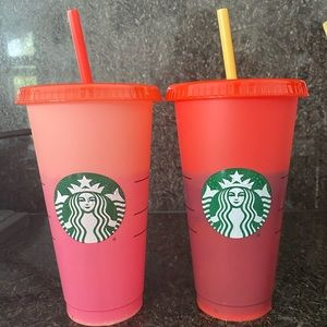 2 Starbucks color changing cups